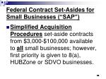 federal contract set asides for small businesses sap