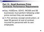 part 12 small business prime contractor performance requirements