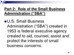 part 2 role of the small business administration sba