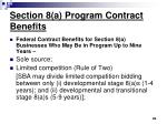 section 8 a program contract benefits