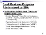 small business programs administered by sba16