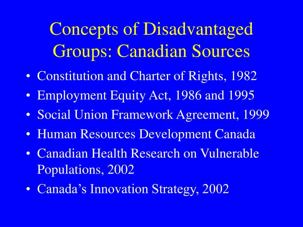 Concepts of Disadvantaged Groups: Canadian Sources