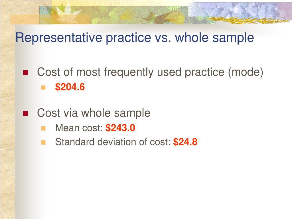 Representative practice vs. whole sample