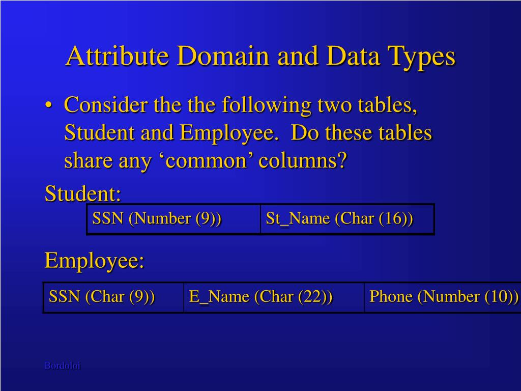 Attribute Domain and Data Types
