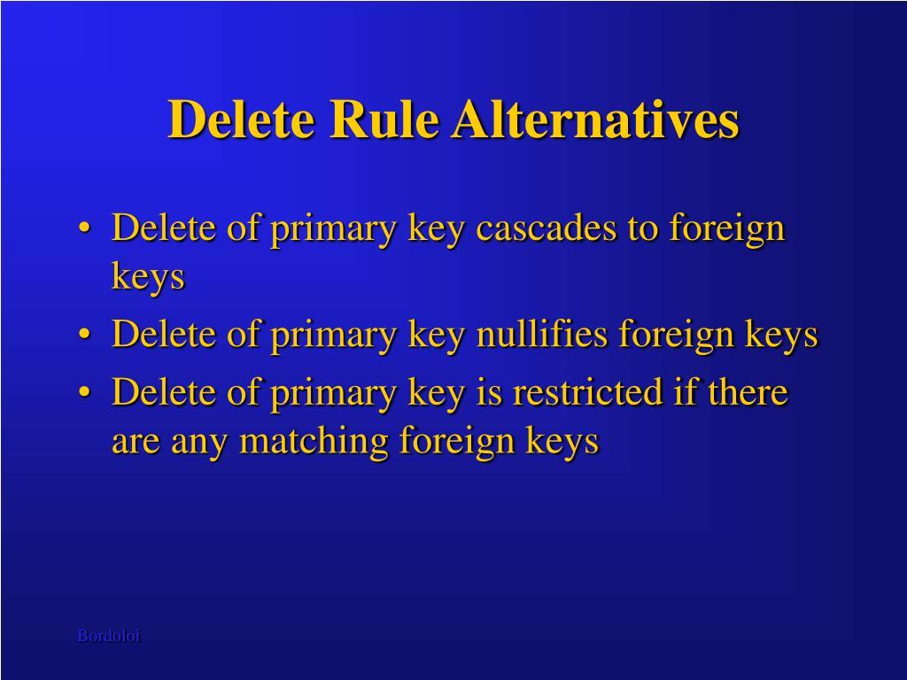 Delete Rule Alternatives