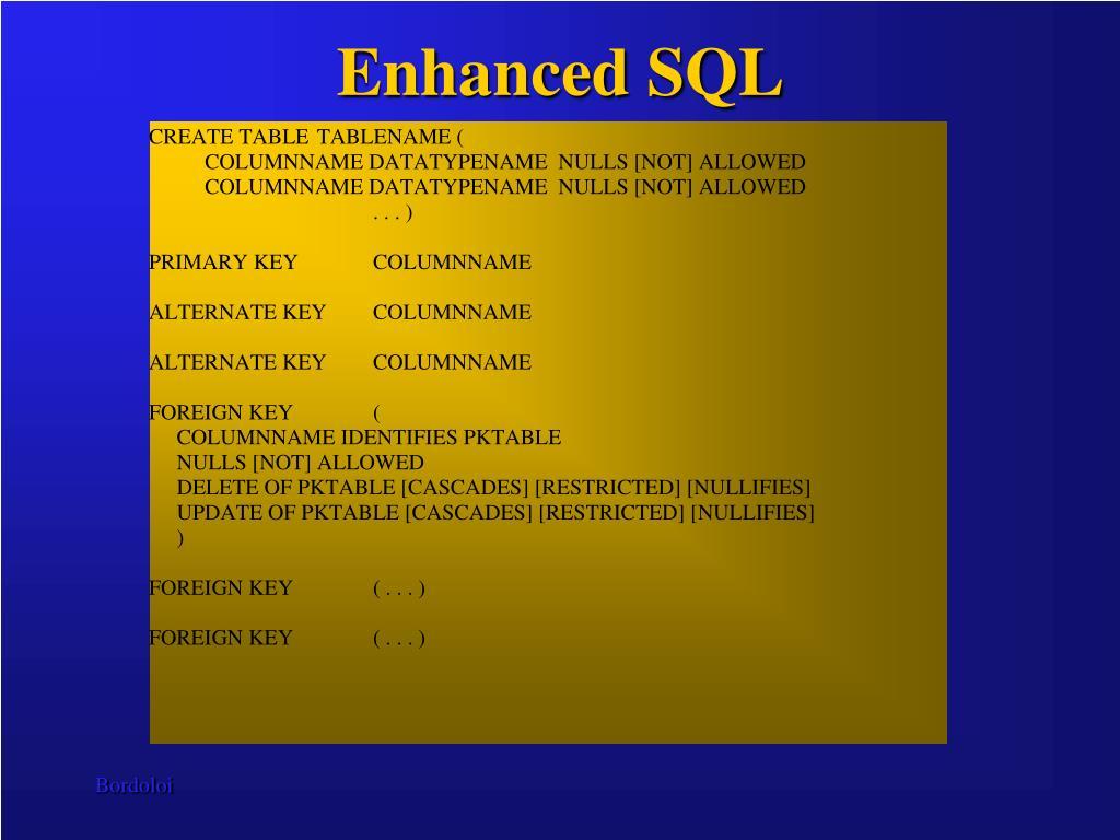 Enhanced SQL