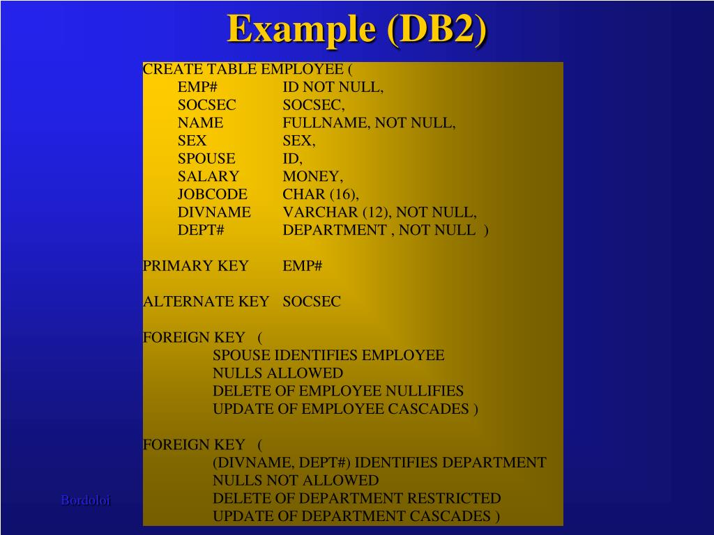 Example (DB2)