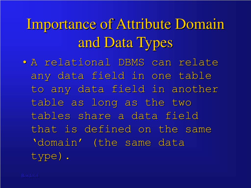 Importance of Attribute Domain and Data Types