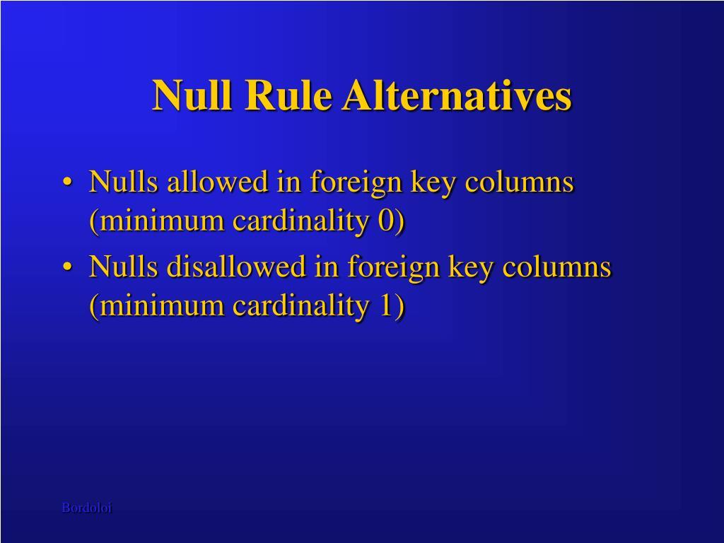 Null Rule Alternatives