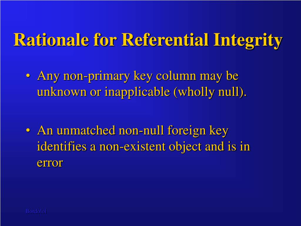 Rationale for Referential Integrity