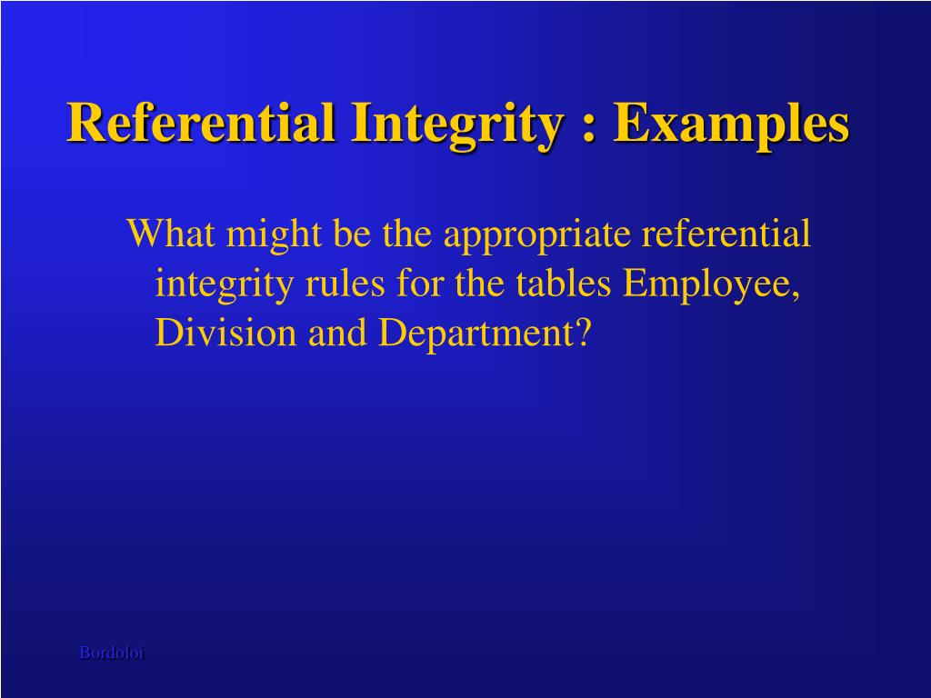 Referential Integrity : Examples