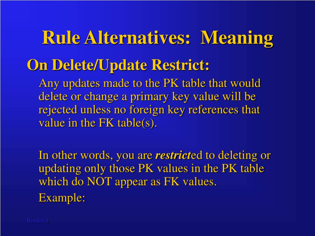 Rule Alternatives:  Meaning