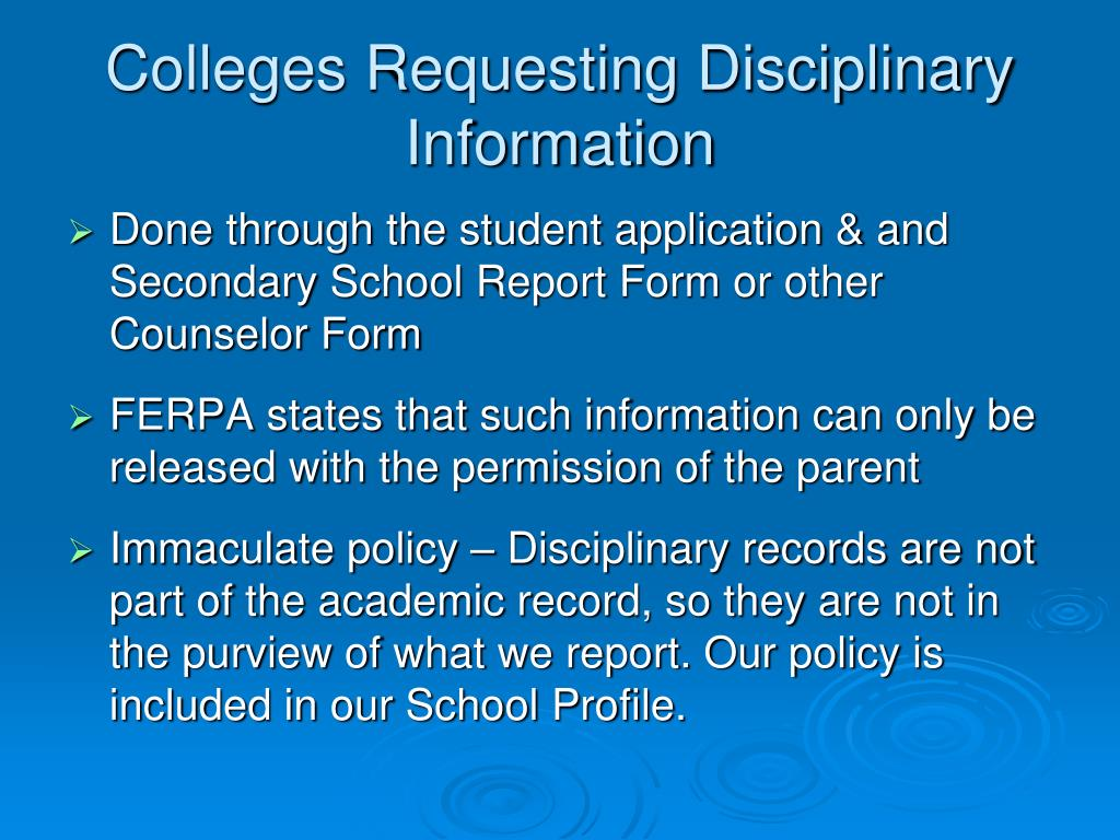 Colleges Requesting Disciplinary Information