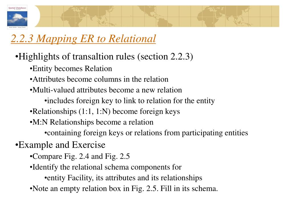 2.2.3 Mapping ER to Relational