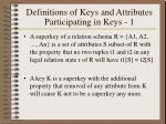 definitions of keys and attributes participating in keys 1