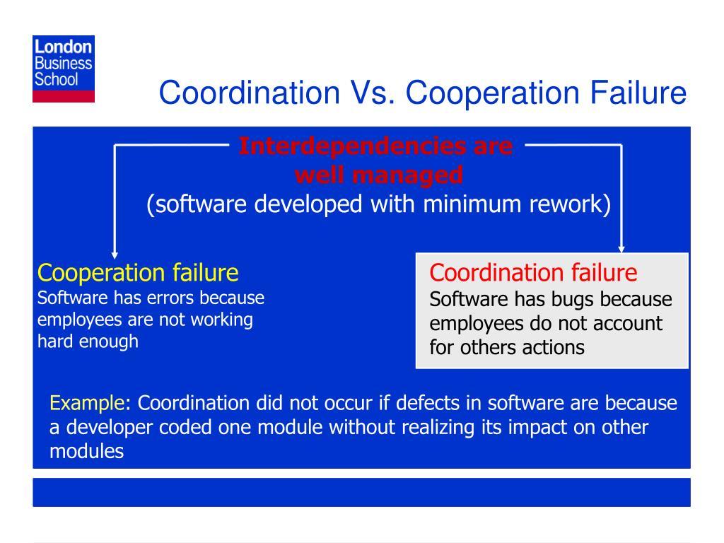 Coordination Vs. Cooperation Failure