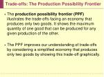 trade offs the production possibility frontier