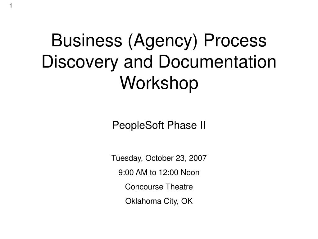 business agency process discovery and documentation workshop l.