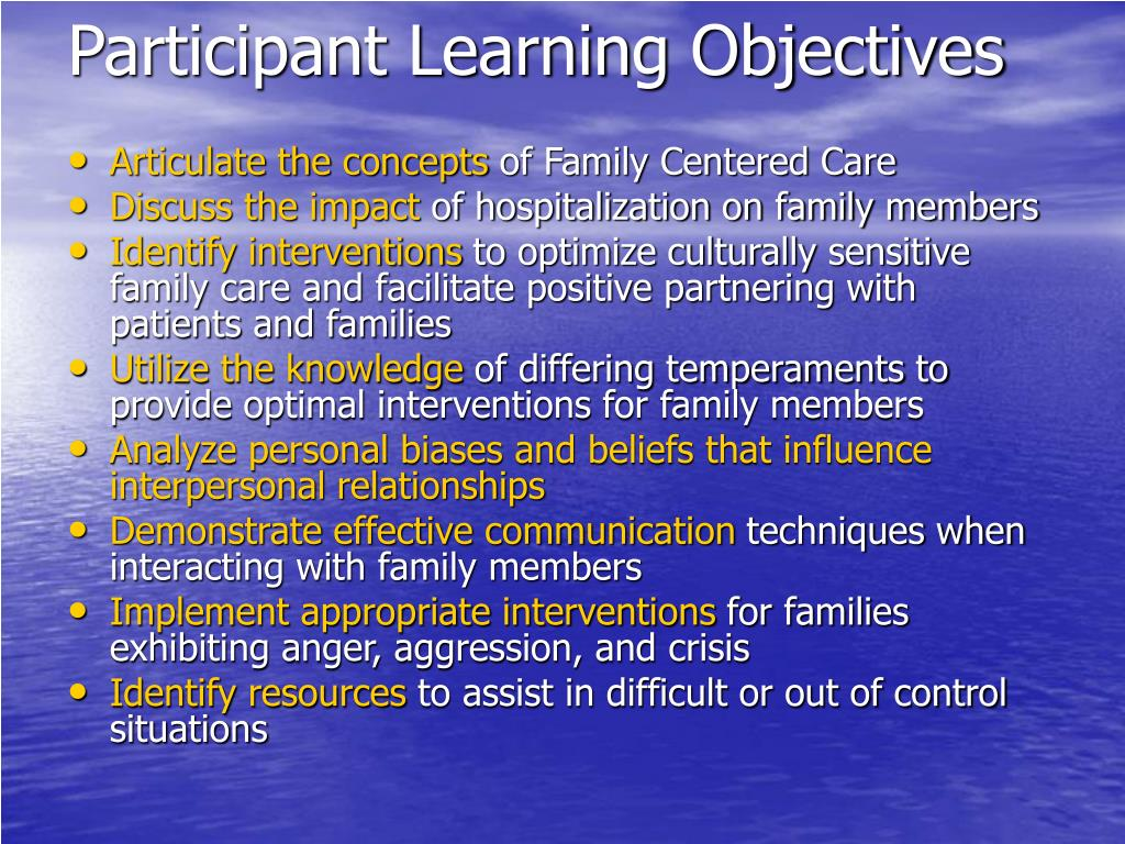 Participant Learning Objectives