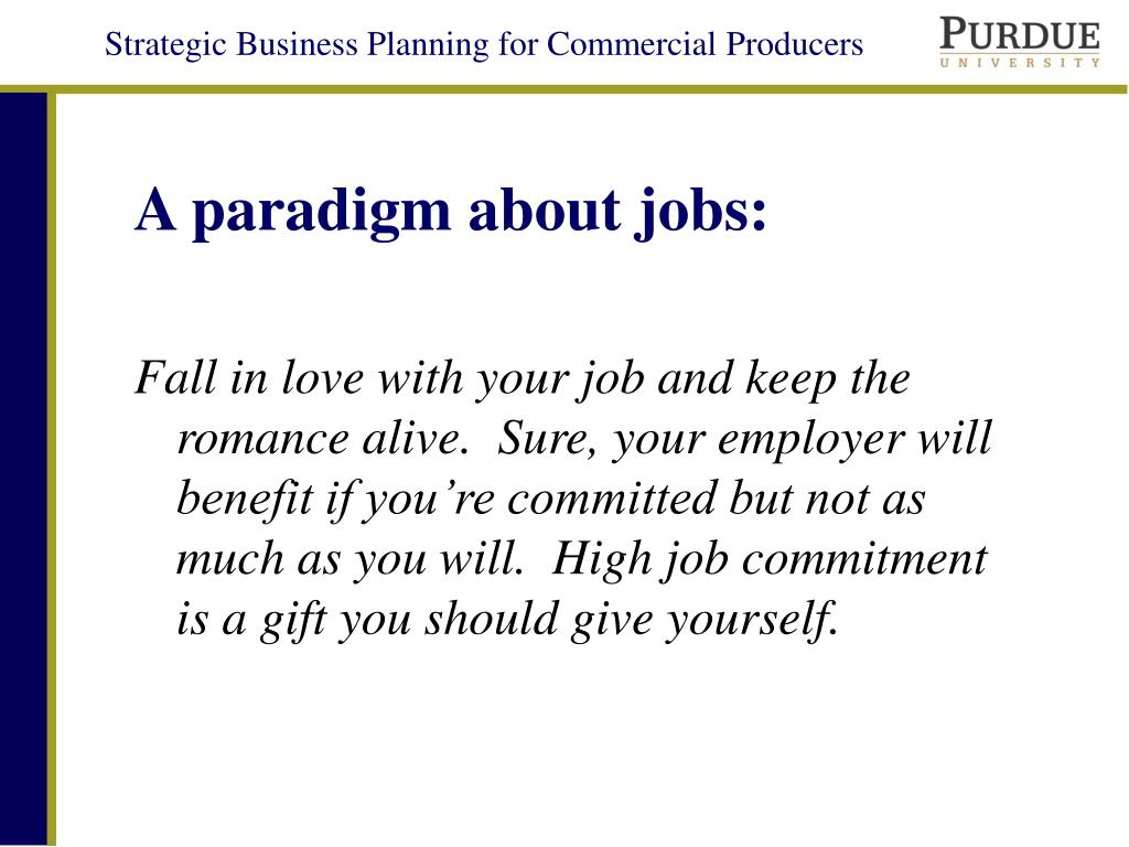 A paradigm about jobs: