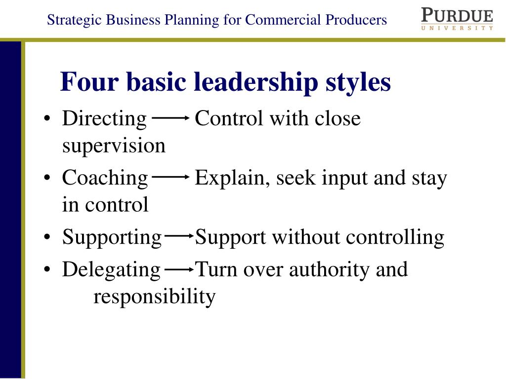 Four basic leadership styles