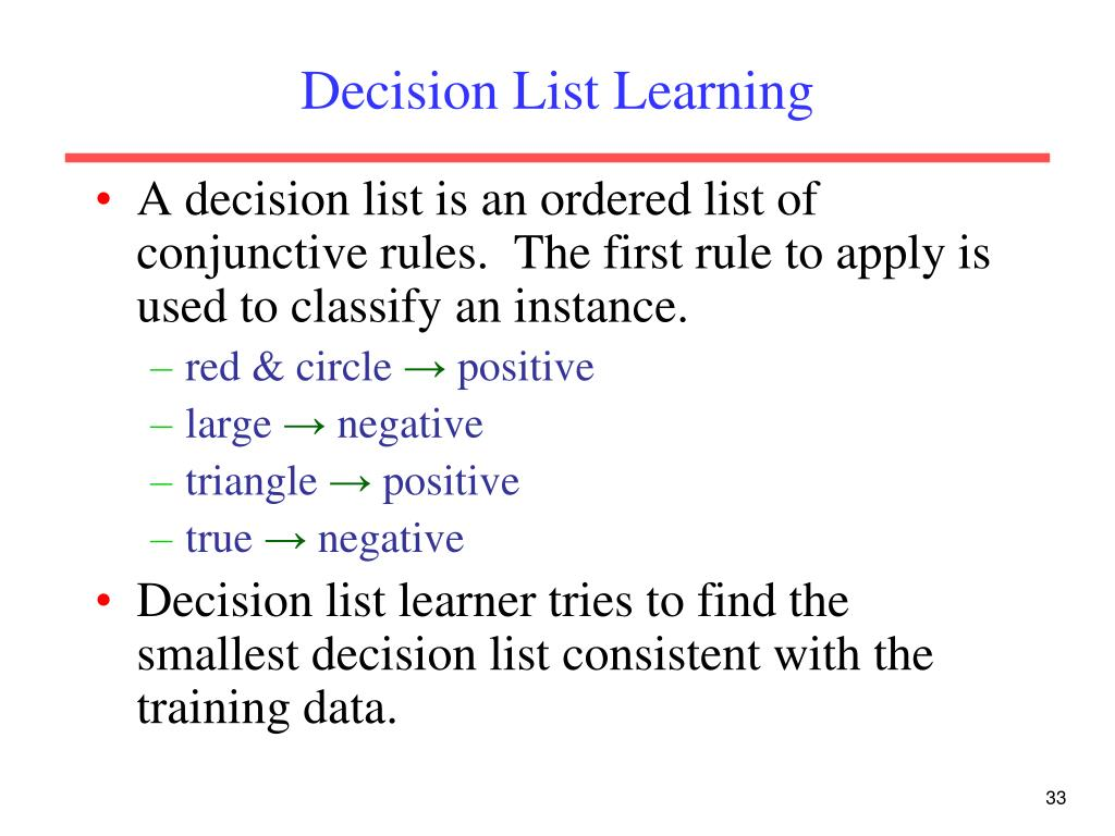 Decision List Learning