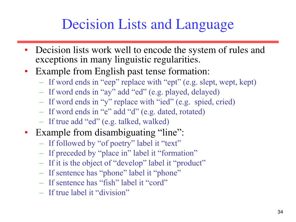 Decision Lists and Language