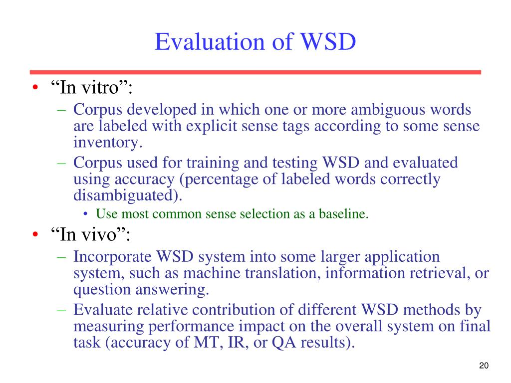 Evaluation of WSD