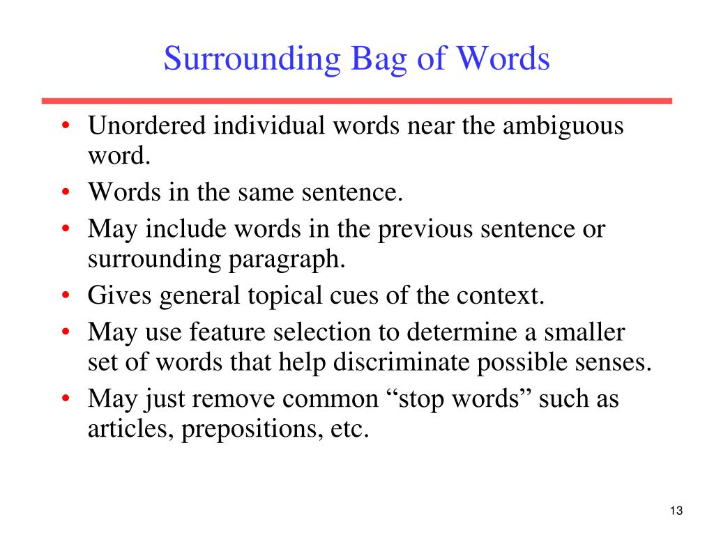 Surrounding Bag of Words
