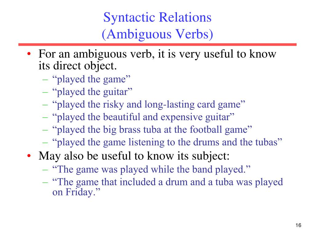 Syntactic Relations
