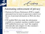 automating enforcement of privacy