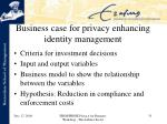 business case for privacy enhancing identity management