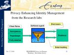 privacy enhancing identity management from the research labs