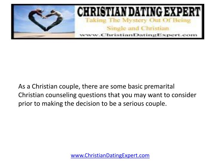 As a Christian couple, there are some basic premarital Christian counseling questions that you may w...