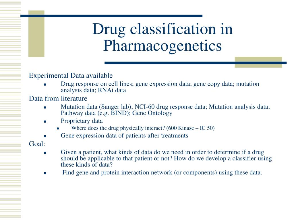 Drug classification in Pharmacogenetics