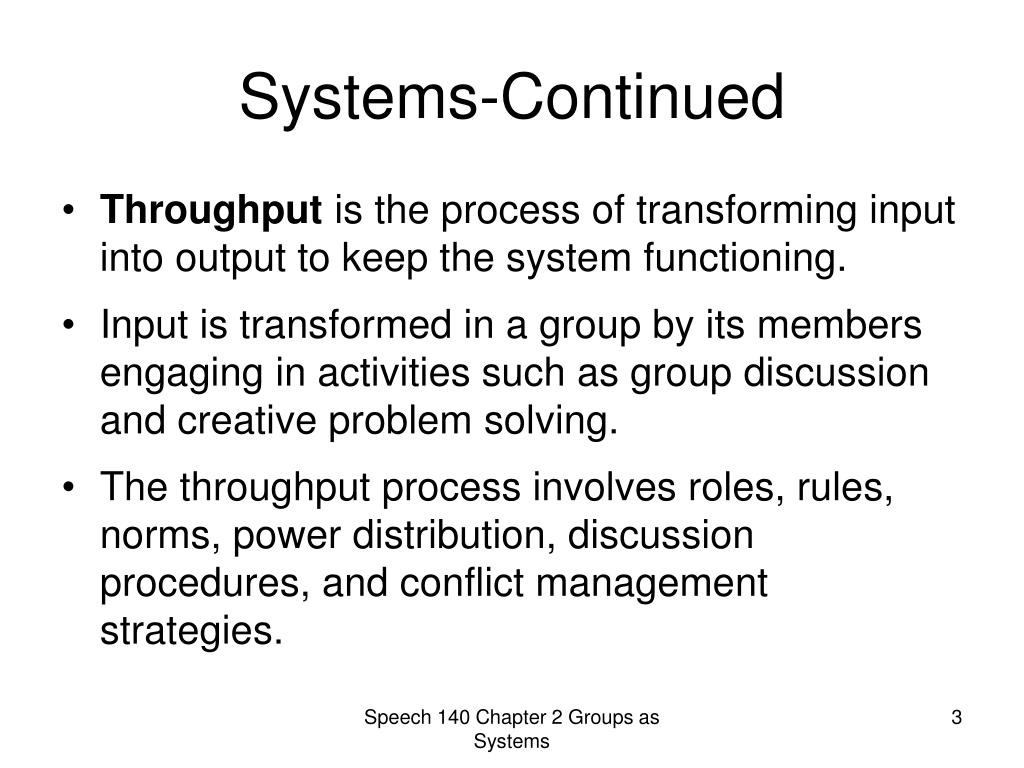 Systems-Continued
