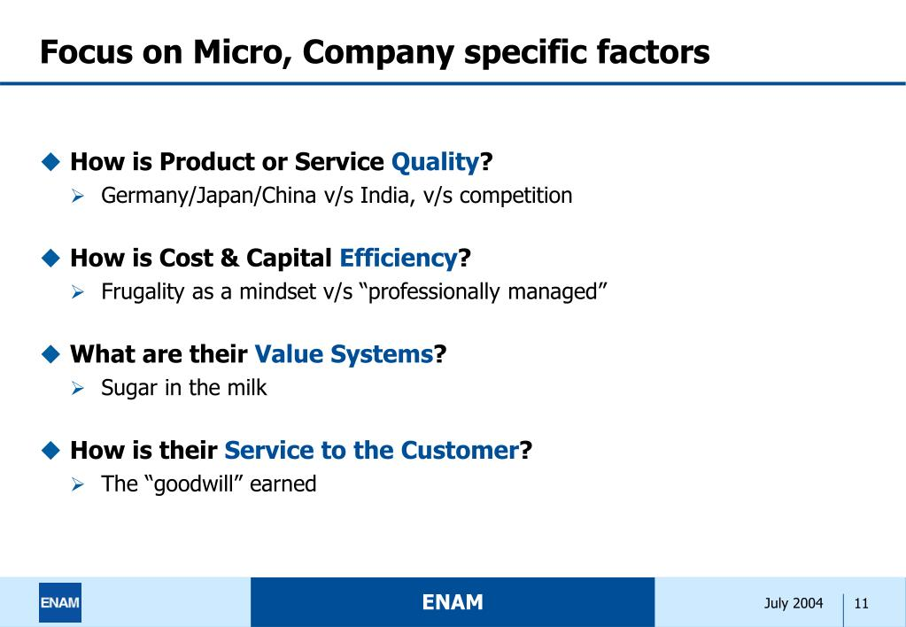 Focus on Micro, Company specific factors