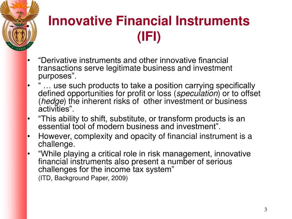 Innovative Financial Instruments (IFI)
