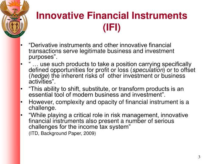 Innovative financial instruments ifi