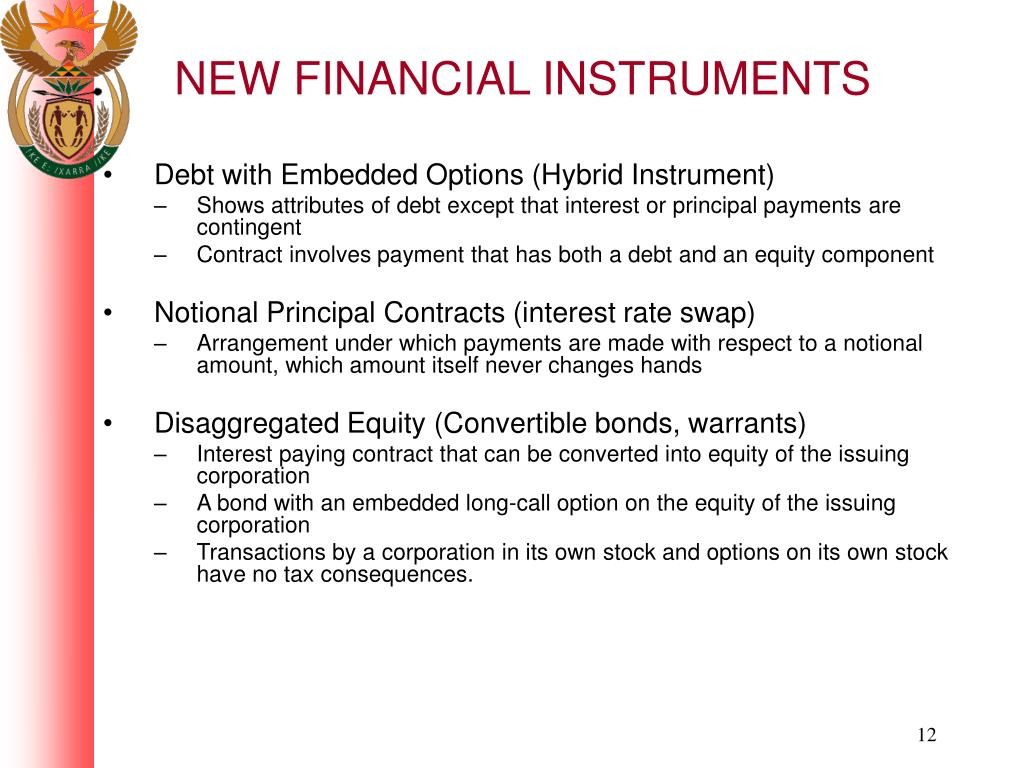 NEW FINANCIAL INSTRUMENTS