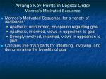 arrange key points in logical order monroe s motivated sequence