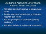 audience analysis differences attitudes beliefs and values
