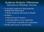 audience analysis differences motivation for attending voluntary