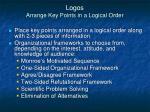 logos arrange key points in a logical order