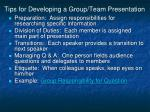tips for developing a group team presentation