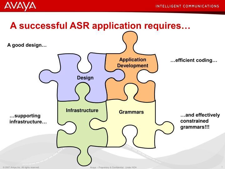 A successful asr application requires