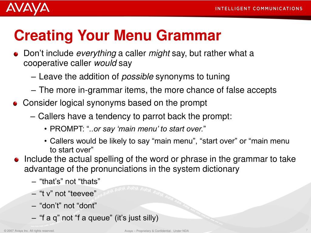 Creating Your Menu Grammar
