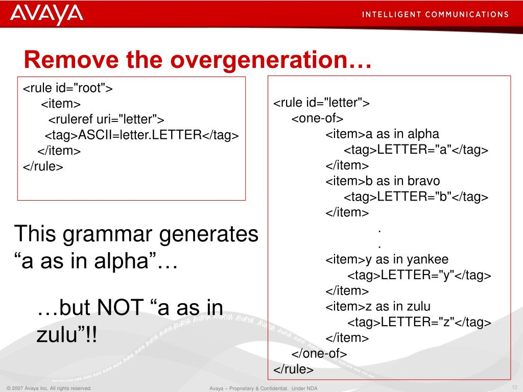 Remove the overgeneration…