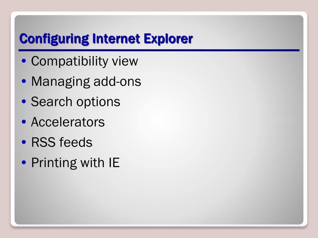 Configuring Internet Explorer