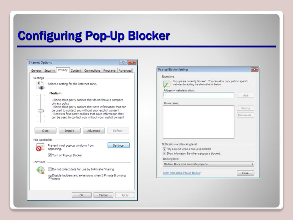 Configuring Pop-Up Blocker